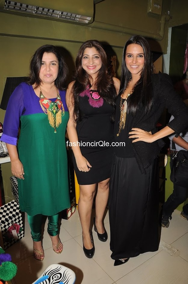 Neha dhupia dazzles in a floor length black dress -  Neha Dhupia &Farah Khan at the opening of Fluke Store