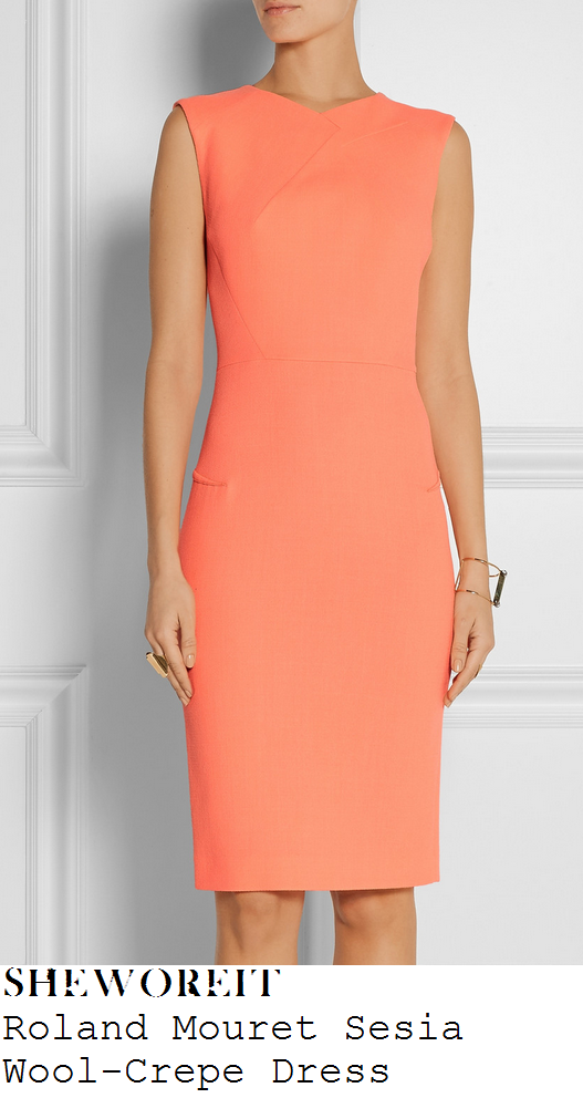 lucy-mecklenburgh-orange-coral-sleeveless-shift-dress-whsmith-lakeside-signing