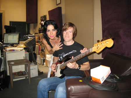 Jana Peri with Jacob Callis recording Recording Gallery Whore at Serious Business