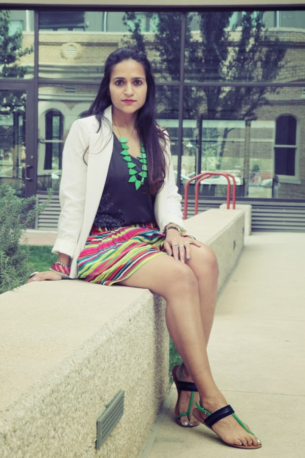 Urban Outfitter White Blazer, Nanette Lepore Shorts, Crazy & Co. Jewelry, Tommy Hilfiger Sandals, Tanvii.com