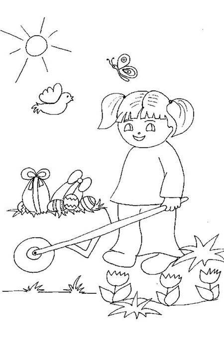 رسم صورة بنت تدفع عربة العابها للتلوين