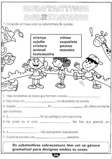 SUBSTANTIVOS EXERC  CIOS ATIVIDADES 3   4   5   ANOS PARA IMPRIMIR