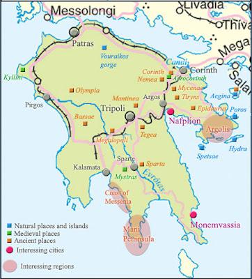 Peloponnese Map Province Area
