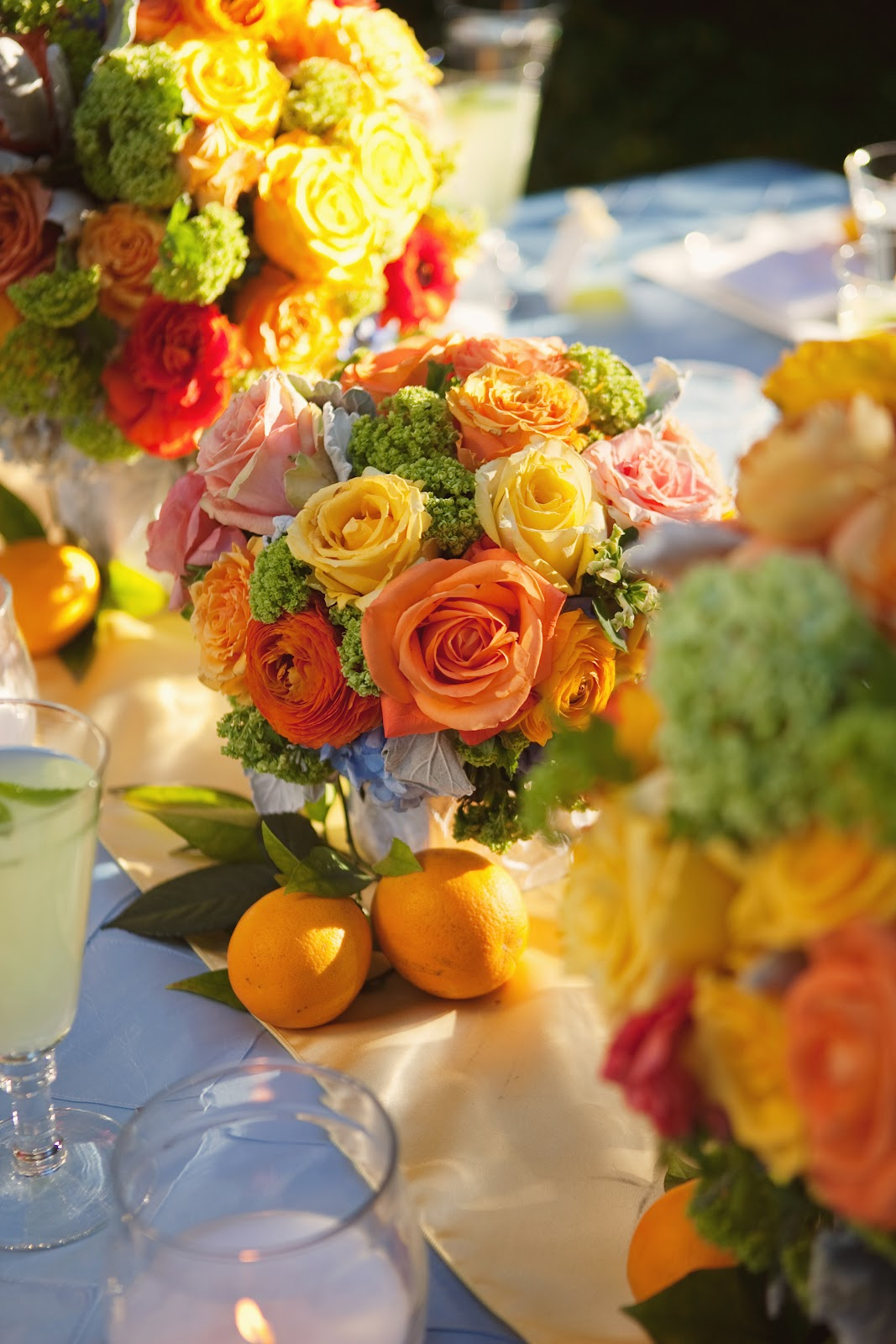 Orchard wedding citrus wedding colors heavenly blooms for Summer wedding centerpieces