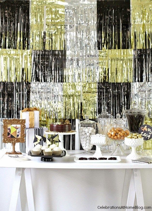 Quick And Stylish Oscars Viewing Party Decorating Ideas; tinsel backdrop