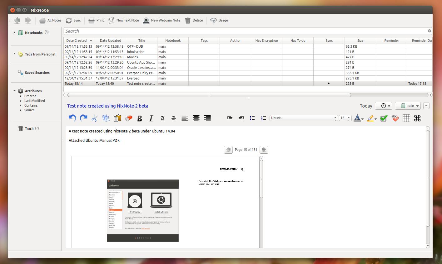 NixNote2 Ubuntu