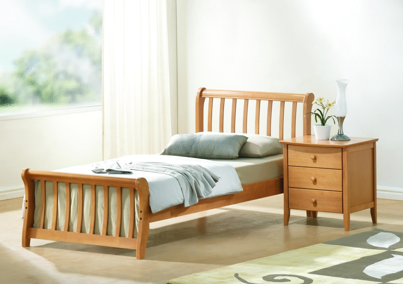 Wooden Singe Bed Design