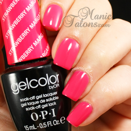 OPI GelColor Strawberry Margarita Swatch, gel polish, soak off gel