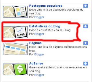adicionar gadgets visitantes blogspot