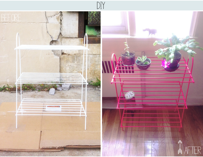 DIY Neon Spray Painted Rack by OTL blog