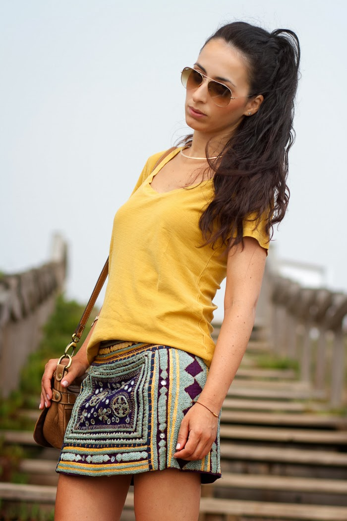 PURPLE & MUSTARD ETHNIC SKIRT