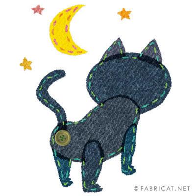 月を見上げる可愛い猫のイラスト