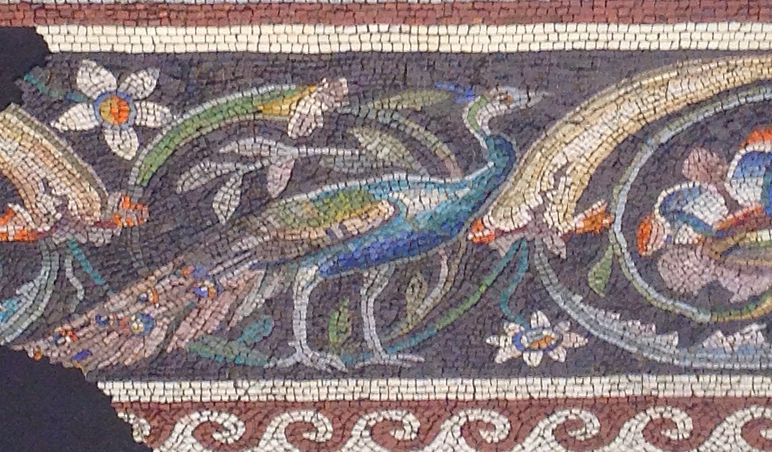 Roman or Byzantine  Mosaic with a Peacock and Flowers