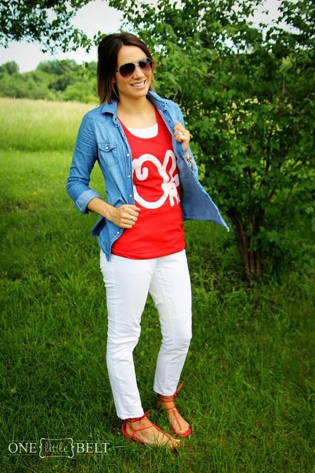 Red graphic tank, denim shirt, white jeans