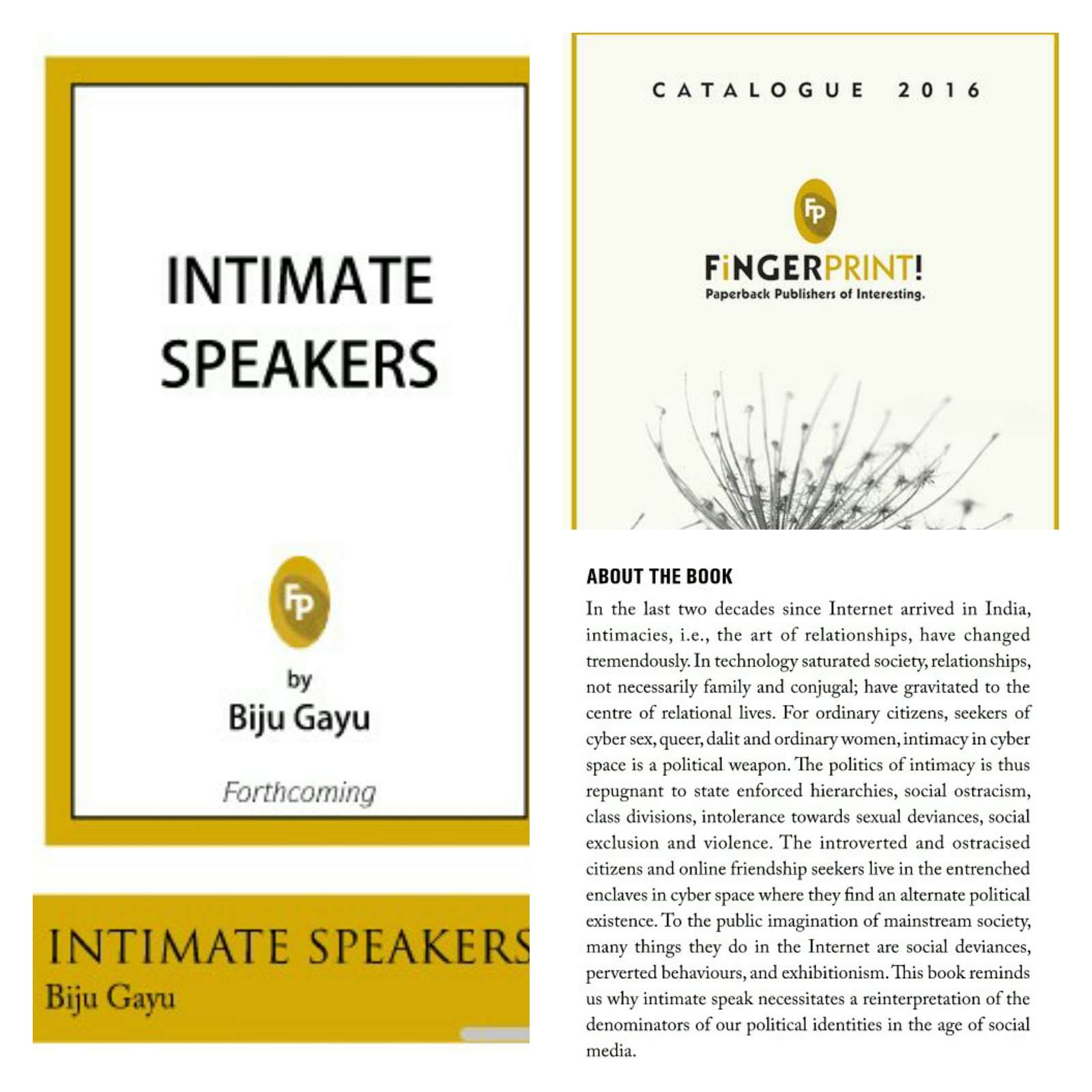 Intimate Speakers (Forthcoming book by Biju P R) From Fingerprint