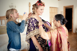 Louise Chrystal working on wedding hair for beautiful Indian ceremony
