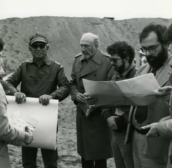 Akira Kurosawa, Francis Ford Coppola and George Lucas on the set of KAGEMUSHA 2