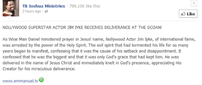 Embarrasing ; Jim Iyke receives deliverance at TB Joshua's Synagogue Church