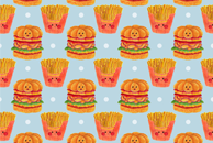 Hamburger and French Fries Watercolor Pattern by Haidi Shabrina