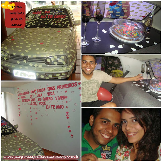 surpresa de 3 anos de namoro no carro do namorado