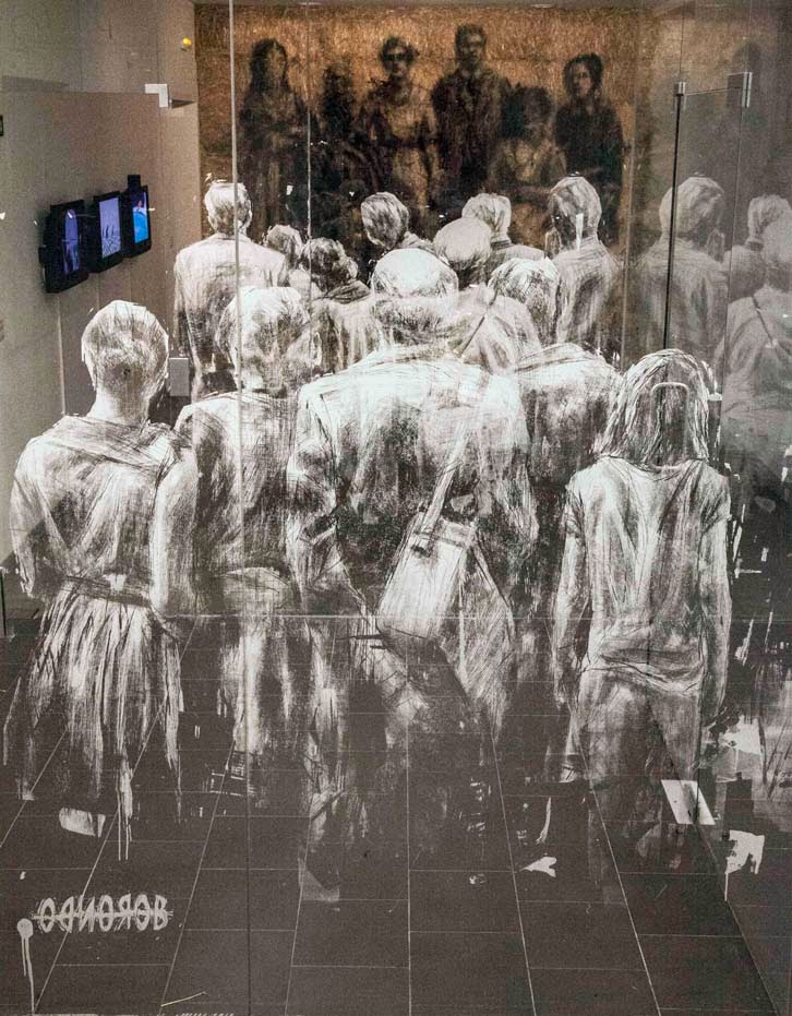 New Indoor Installation On Window and Hay Stacks by Spanish Artist Borondo in Madrid, Spain. 2