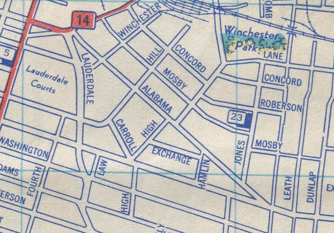 this 1951 map shows alabama avenue in its heyday before it was bisected by interstate 40 and danny thomas blvd note its old western terminus with jackson