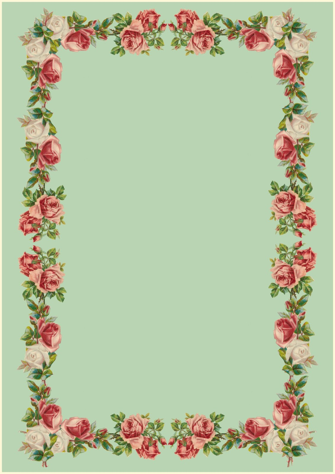 Free printable vintage rose stationery - ausdruckbares ...