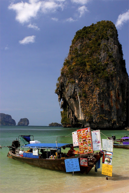long tail boats railay beach thailand