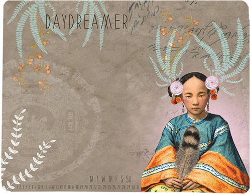 PAPAYA : Feather Girl Memo Mouse Pad