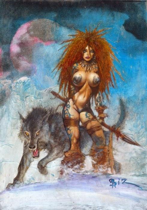 Dessin de Simon Bisley représentant une jeune femme guerrière sexy et rousse avec un loup