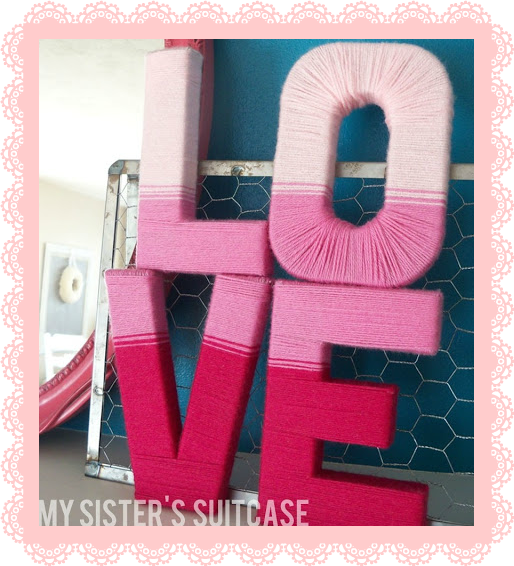 CARDBOARD WORD AND YARN LETRAS DE CARTON CON LANA LOVE