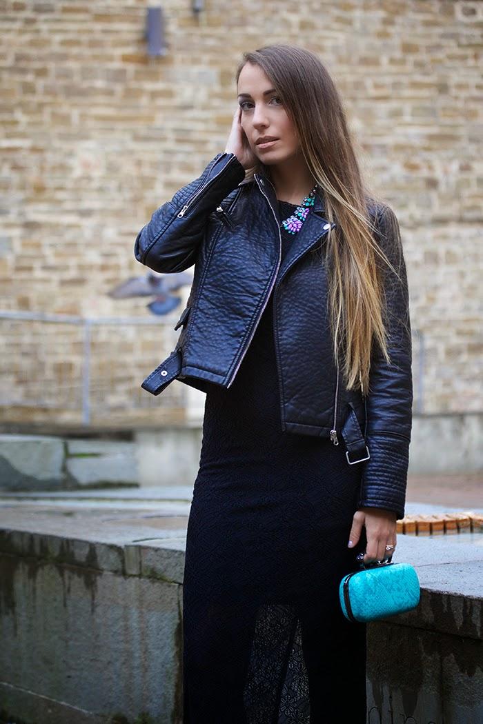 abito elegante giacca pelle