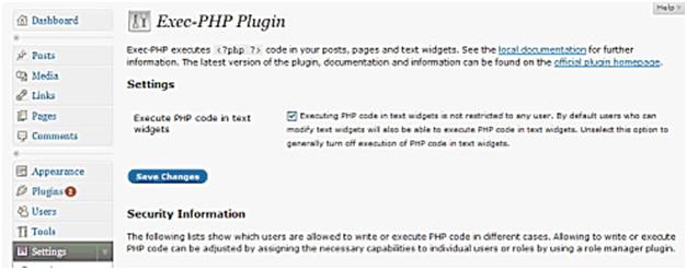 Exec-PHP wordpress plugin