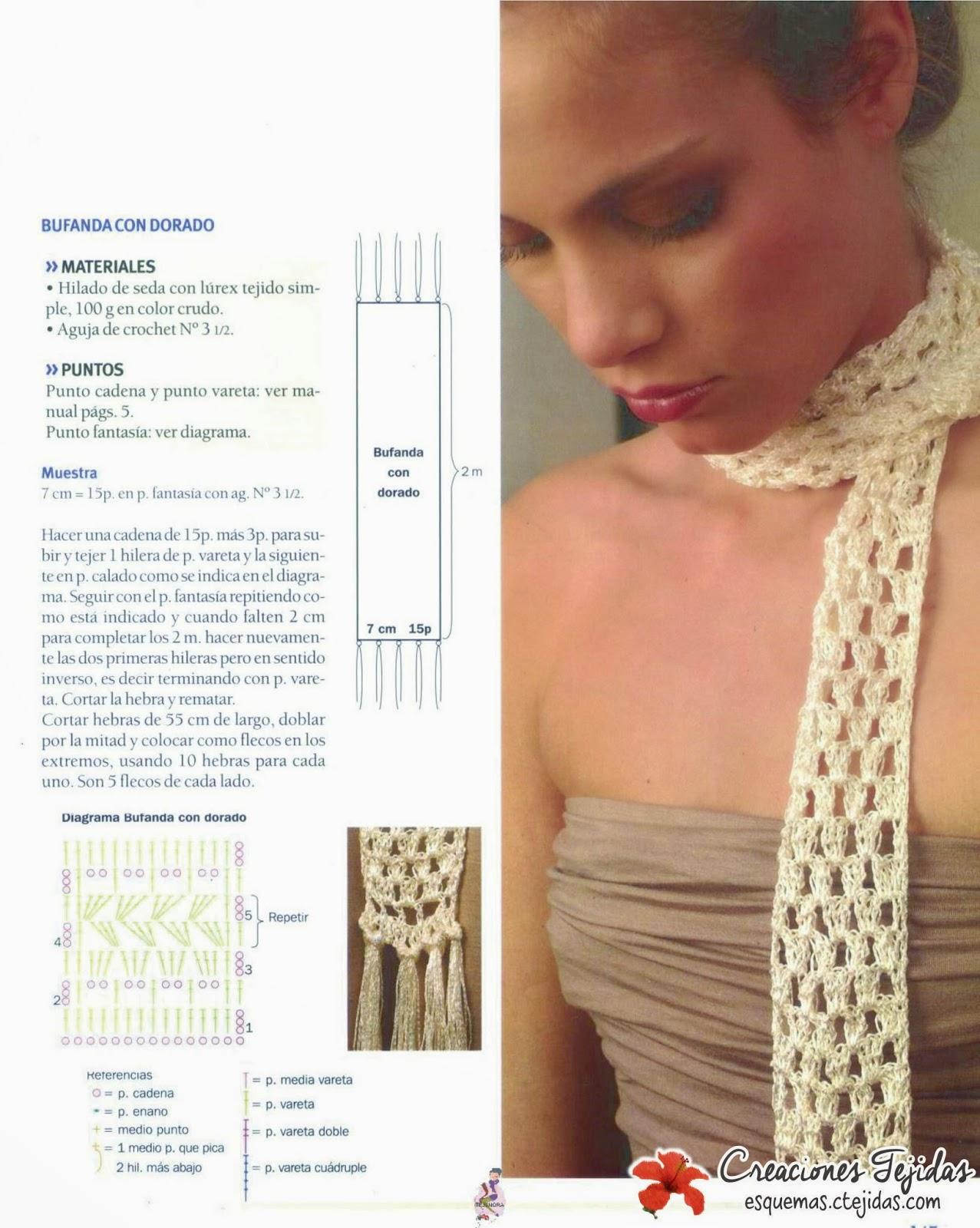 Bufanda con Dorado a Crochet