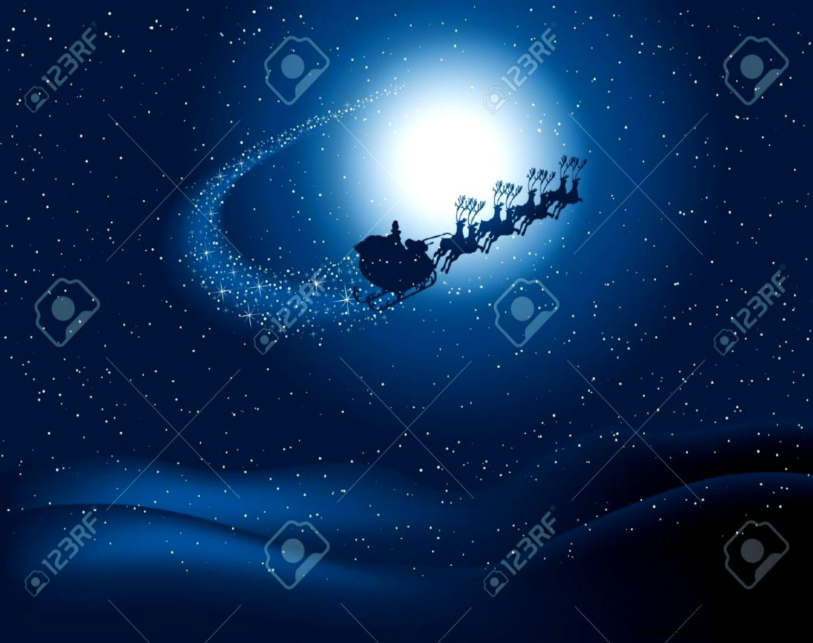 Silhouette Of Santa Flying Through The Snowy Night Sky With Starry