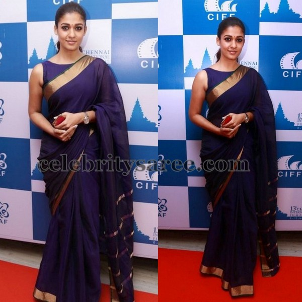 Nayantara Navy Blue saree