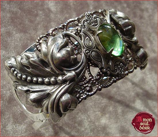 Bracelet Elfique Vert Dame Mère Nature Elfe Fée Bijouterie Féerie