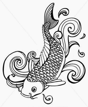 Koi fish on the water tattoo stencil