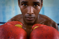 Cuban boxer in ring