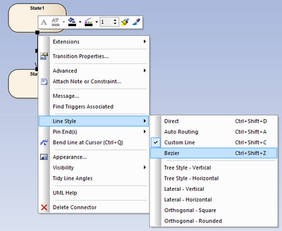 style linii powiązania dostępne w menu kontekstowym - dostępny styl bezier