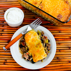 ... Spicy Green Chile Mexican Casserole with Ground Beef, Black Beans, and