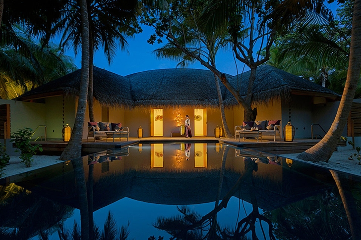 Resort residence at night in Luxury Dusit Thani Resort in Maldives