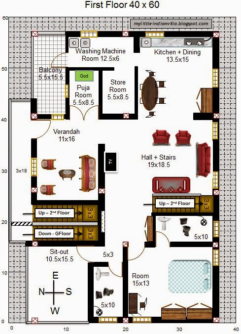 My little indian villa 32r25 3bhk duplex in 40x60 west Indian duplex house plans with photos