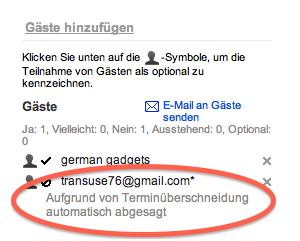Screenshot einer Ansicht des Google Kalender, der Terminüberschneidungen automatisch ablehnt.