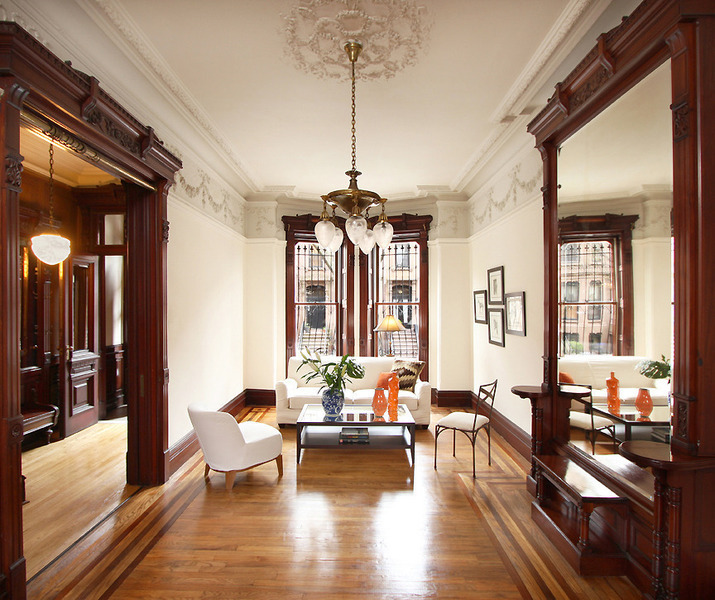 Old world gothic and victorian interior design for New york city brownstone for sale