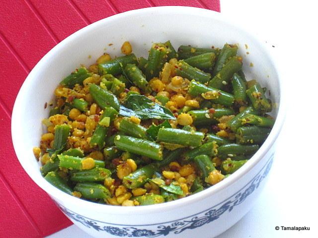 Beans-Chana Dal Stir Fry