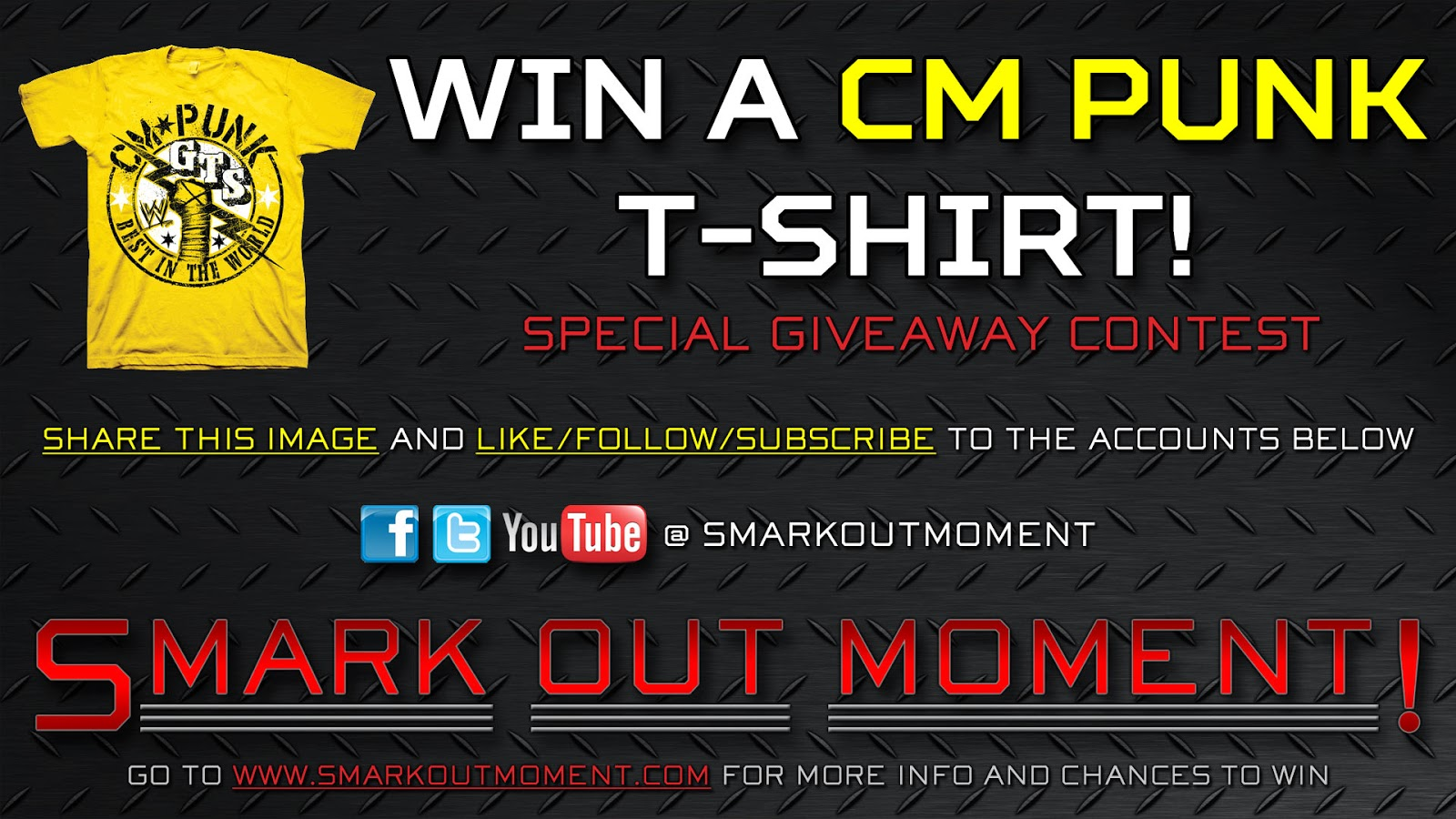 win a free CM Punk t-shirt by subscribing to Smark Out Moment