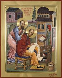 Sf.Pavel soptindu-i la ureche Sf.Ioan Gura de Aur
