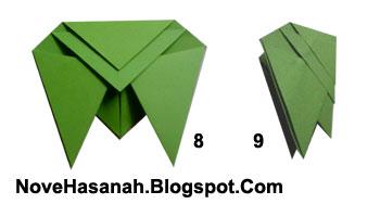 cara melipat kertas untuk membuat origami serangga tonggeret atau cicada yang unik 2