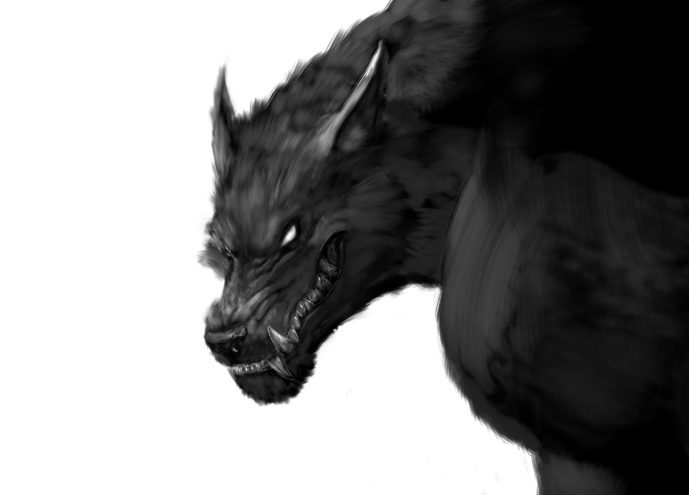 Scary werewolf head black white sketch a really nice drawing